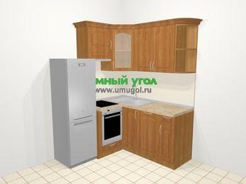 Угловая кухня МДФ матовый в классическом стиле 5,0 м², 160 на 160 см, Вишня, верхние модули 72 см, посудомоечная машина, встроенный духовой шкаф, холодильник