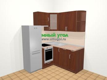 Угловая кухня МДФ матовый в классическом стиле 5,0 м², 160 на 160 см, Вишня темная, верхние модули 72 см, посудомоечная машина, встроенный духовой шкаф, холодильник