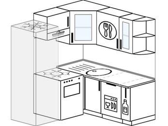 Планировка угловой кухни 5,0 м², 160 на 160 см: верхние модули 72 см, холодильник, отдельно стоящая плита, посудомоечная машина, корзина-бутылочница