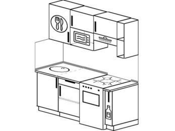 Планировка прямой кухни 5,0 м², 1600 мм (зеркальный проект): верхние модули 720 мм, отдельно стоящая плита, корзина-бутылочница, верхний модуль под свч