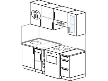 Прямая кухня 5,0 м² (1,6 м), верхние модули 72 см, отдельно стоящая плита