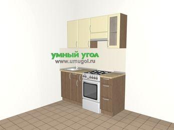 Прямая кухня МДФ матовый 5,0 м², 1600 мм (зеркальный проект), Ваниль / Лиственница бронзовая, верхние модули 720 мм, отдельно стоящая плита