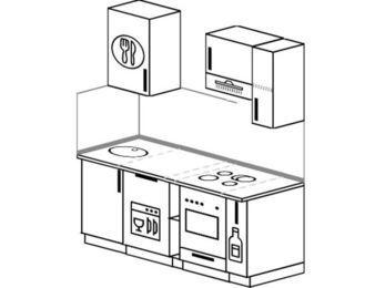 Прямая кухня 5,0 м² (1,6 м), верхние модули 72 см, посудомоечная машина, верхний модуль под свч, встроенный духовой шкаф
