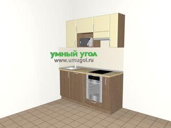 Прямая кухня МДФ матовый 5,0 м², 1600 мм (зеркальный проект), Ваниль / Лиственница бронзовая, верхние модули 720 мм, посудомоечная машина, верхний модуль под свч, встроенный духовой шкаф