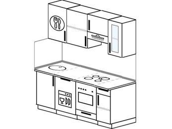 Прямая кухня 5,0 м² (1,6 м), верхние модули 72 см, посудомоечная машина, встроенный духовой шкаф