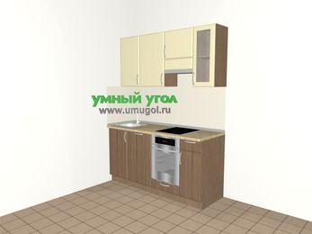 Прямая кухня МДФ матовый 5,0 м², 1600 мм (зеркальный проект), Ваниль / Лиственница бронзовая, верхние модули 720 мм, посудомоечная машина, встроенный духовой шкаф
