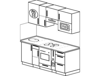 Прямая кухня 5,0 м² (1,6 м), верхние модули 72 см, верхний модуль под свч, встроенный духовой шкаф