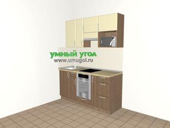 Прямая кухня МДФ матовый 5,0 м², 1600 мм (зеркальный проект), Ваниль / Лиственница бронзовая, верхние модули 720 мм, верхний модуль под свч, встроенный духовой шкаф