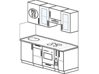 Прямая кухня 5,0 м² (1,6 м), верхние модули 72 см, встроенный духовой шкаф