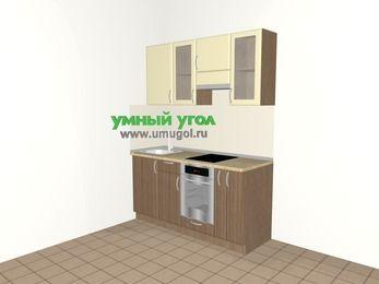 Прямая кухня МДФ матовый 5,0 м², 1600 мм (зеркальный проект), Ваниль / Лиственница бронзовая, верхние модули 720 мм, встроенный духовой шкаф