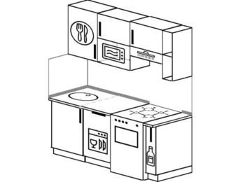Прямая кухня 5,0 м² (1,6 м), верхние модули 72 см, посудомоечная машина, верхний модуль под свч, отдельно стоящая плита