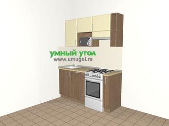 Прямая кухня МДФ матовый 5,0 м², 1600 мм (зеркальный проект), Ваниль / Лиственница бронзовая, верхние модули 720 мм, посудомоечная машина, верхний модуль под свч, отдельно стоящая плита