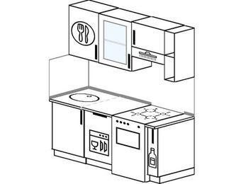 Прямая кухня 5,0 м² (1,6 м), верхние модули 72 см, посудомоечная машина, отдельно стоящая плита