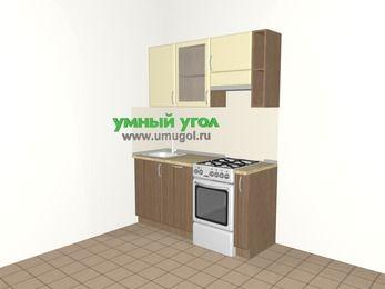 Прямая кухня МДФ матовый 5,0 м², 1600 мм (зеркальный проект), Ваниль / Лиственница бронзовая, верхние модули 720 мм, посудомоечная машина, отдельно стоящая плита
