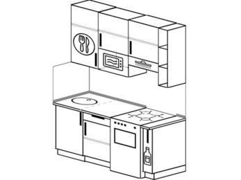 Прямая кухня 5,0 м² (1,6 м), верхние модули 920 мм, верхний витринный модуль под свч, отдельно стоящая плита