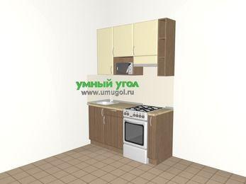 Прямая кухня МДФ матовый 5,0 м², 1600 мм (зеркальный проект), Ваниль / Лиственница бронзовая, верхние модули 920 мм, верхний витринный модуль под свч, отдельно стоящая плита