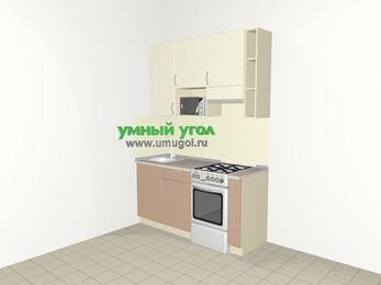 Прямая кухня МДФ глянец 5,0 м², 1600 мм (зеркальный проект), Жасмин / Капучино, верхние модули 920 мм, верхний витринный модуль под свч, отдельно стоящая плита