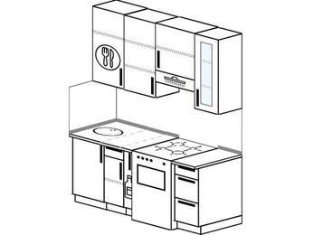 Прямая кухня 5,0 м² (1,6 м), верхние модули 920 мм, отдельно стоящая плита