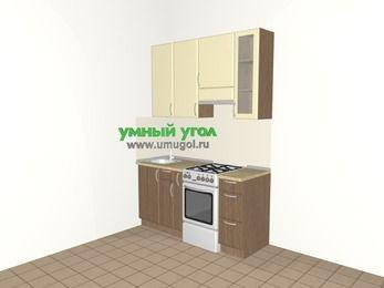 Прямая кухня МДФ матовый 5,0 м², 1600 мм (зеркальный проект), Ваниль / Лиственница бронзовая, верхние модули 920 мм, отдельно стоящая плита