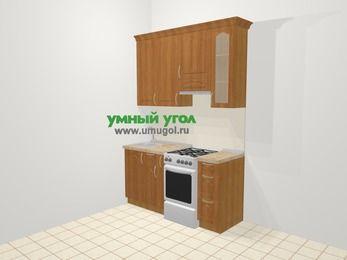 Прямая кухня МДФ матовый в классическом стиле 5,0 м², 160 см (зеркальный проект), Вишня, верхние модули 92 см, отдельно стоящая плита