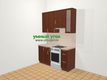 Прямая кухня МДФ матовый в классическом стиле 5,0 м², 160 см (зеркальный проект), Вишня темная, верхние модули 92 см, отдельно стоящая плита