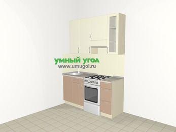 Прямая кухня МДФ глянец 5,0 м², 1600 мм (зеркальный проект), Жасмин / Капучино, верхние модули 920 мм, отдельно стоящая плита
