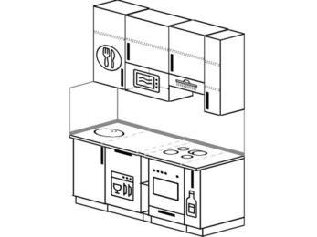 Прямая кухня 5,0 м² (1,6 м), верхние модули 920 мм, посудомоечная машина, верхний витринный модуль под свч, встроенный духовой шкаф