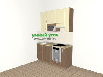 Прямая кухня МДФ матовый 5,0 м², 1600 мм (зеркальный проект), Ваниль / Лиственница бронзовая, верхние модули 920 мм, посудомоечная машина, верхний витринный модуль под свч, встроенный духовой шкаф