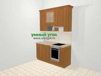 Прямая кухня МДФ матовый в классическом стиле 5,0 м², 160 см (зеркальный проект), Вишня, верхние модули 92 см, посудомоечная машина, верхний модуль под свч, встроенный духовой шкаф
