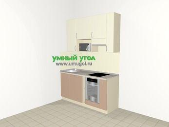 Прямая кухня МДФ глянец 5,0 м², 1600 мм (зеркальный проект), Жасмин / Капучино, верхние модули 920 мм, посудомоечная машина, верхний витринный модуль под свч, встроенный духовой шкаф