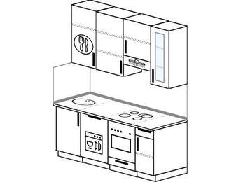 Прямая кухня 5,0 м² (1,6 м), верхние модули 92 см, посудомоечная машина, встроенный духовой шкаф