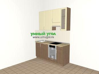 Прямая кухня МДФ матовый 5,0 м², 1600 мм (зеркальный проект), Ваниль / Лиственница бронзовая, верхние модули 920 мм, посудомоечная машина, встроенный духовой шкаф