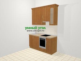 Прямая кухня МДФ матовый в классическом стиле 5,0 м², 160 см (зеркальный проект), Вишня, верхние модули 92 см, посудомоечная машина, встроенный духовой шкаф