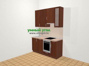 Прямая кухня МДФ матовый в классическом стиле 5,0 м², 160 см (зеркальный проект), Вишня темная, верхние модули 92 см, посудомоечная машина, встроенный духовой шкаф