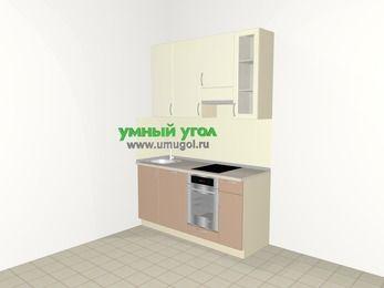 Прямая кухня МДФ глянец 5,0 м², 1600 мм (зеркальный проект), Жасмин / Капучино, верхние модули 920 мм, посудомоечная машина, встроенный духовой шкаф