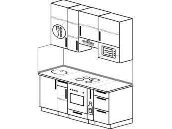 Прямая кухня 5,0 м² (1,6 м), верхние модули 920 мм, верхний витринный модуль под свч, встроенный духовой шкаф
