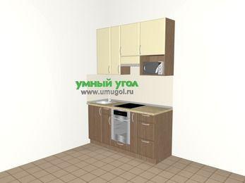 Прямая кухня МДФ матовый 5,0 м², 1600 мм (зеркальный проект), Ваниль / Лиственница бронзовая, верхние модули 920 мм, верхний витринный модуль под свч, встроенный духовой шкаф