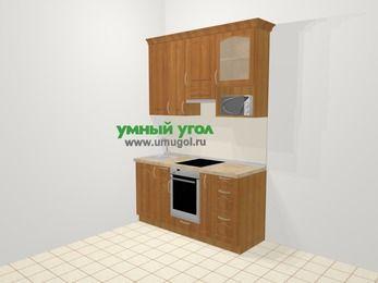 Прямая кухня МДФ матовый в классическом стиле 5,0 м², 160 см (зеркальный проект), Вишня, верхние модули 92 см, верхний модуль под свч, встроенный духовой шкаф
