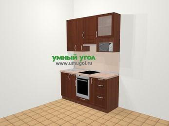 Прямая кухня МДФ матовый в классическом стиле 5,0 м², 160 см (зеркальный проект), Вишня темная, верхние модули 92 см, верхний модуль под свч, встроенный духовой шкаф