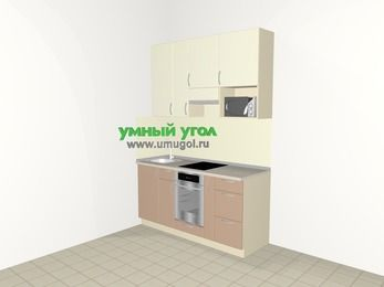 Прямая кухня МДФ глянец 5,0 м², 1600 мм (зеркальный проект), Жасмин / Капучино, верхние модули 920 мм, верхний витринный модуль под свч, встроенный духовой шкаф