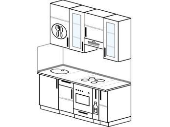 Прямая кухня 5,0 м² (1,6 м), верхние модули 92 см, встроенный духовой шкаф