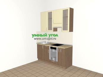 Прямая кухня МДФ матовый 5,0 м², 1600 мм (зеркальный проект), Ваниль / Лиственница бронзовая, верхние модули 920 мм, встроенный духовой шкаф