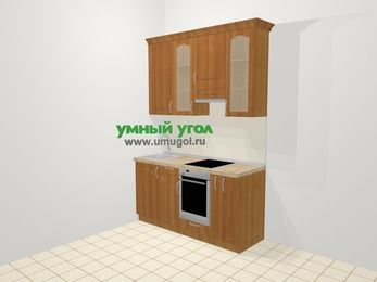 Прямая кухня МДФ матовый в классическом стиле 5,0 м², 160 см (зеркальный проект), Вишня, верхние модули 92 см, встроенный духовой шкаф