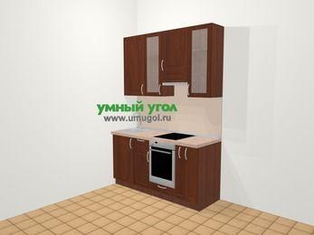 Прямая кухня МДФ матовый в классическом стиле 5,0 м², 160 см (зеркальный проект), Вишня темная, верхние модули 92 см, встроенный духовой шкаф