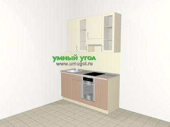 Прямая кухня МДФ глянец 5,0 м², 1600 мм (зеркальный проект), Жасмин / Капучино, верхние модули 920 мм, встроенный духовой шкаф