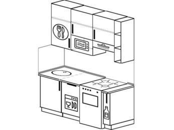 Прямая кухня 5,0 м² (1,6 м), верхние модули 920 мм, посудомоечная машина, верхний витринный модуль под свч, отдельно стоящая плита