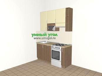 Прямая кухня МДФ матовый 5,0 м², 1600 мм (зеркальный проект), Ваниль / Лиственница бронзовая, верхние модули 920 мм, посудомоечная машина, верхний витринный модуль под свч, отдельно стоящая плита