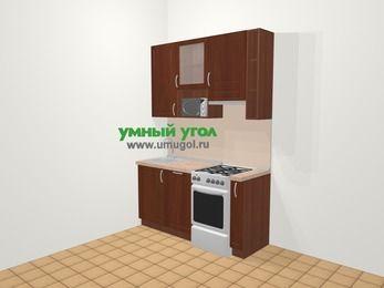 Прямая кухня МДФ матовый в классическом стиле 5,0 м², 160 см (зеркальный проект), Вишня темная, верхние модули 92 см, посудомоечная машина, верхний модуль под свч, отдельно стоящая плита