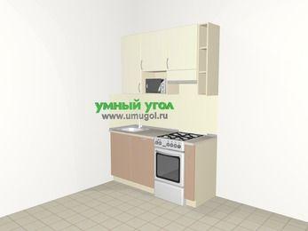 Прямая кухня МДФ глянец 5,0 м², 1600 мм (зеркальный проект), Жасмин / Капучино, верхние модули 920 мм, посудомоечная машина, верхний витринный модуль под свч, отдельно стоящая плита