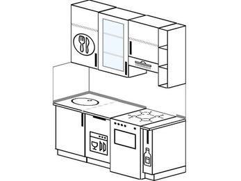Прямая кухня 5,0 м² (1,6 м), верхние модули 92 см, посудомоечная машина, отдельно стоящая плита